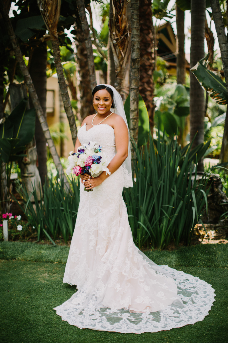 pSan Diego Tropical-Inspired Wedding portrait of janelle in garden