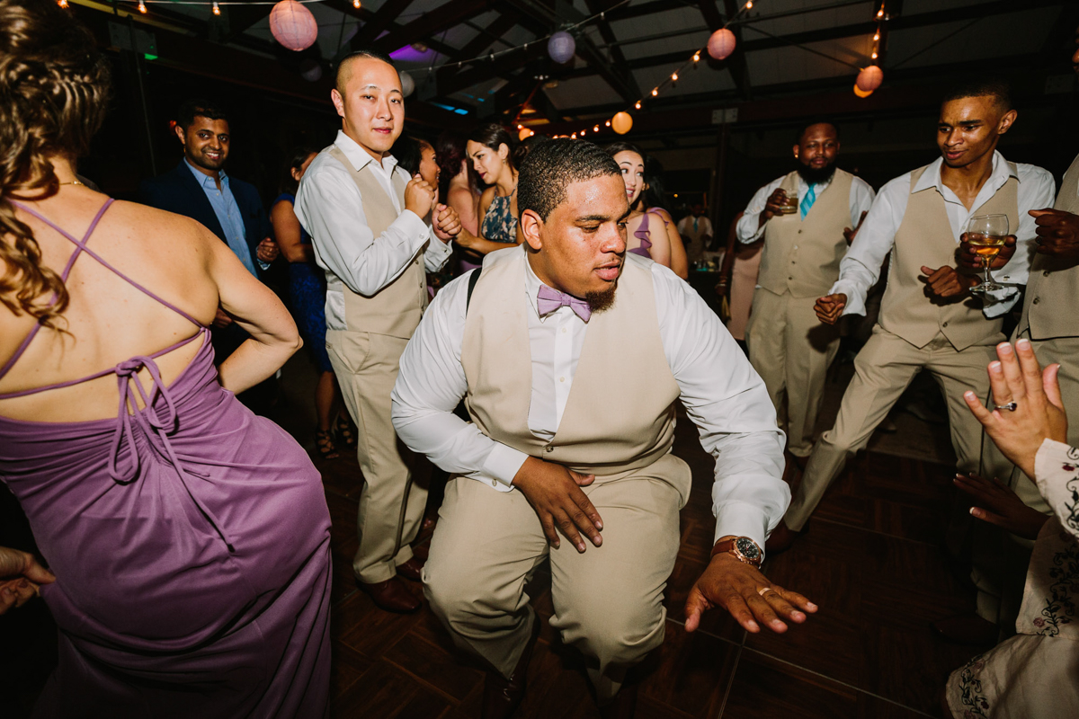 San Diego Tropical-Inspired Wedding william on dance floor with groomsmen