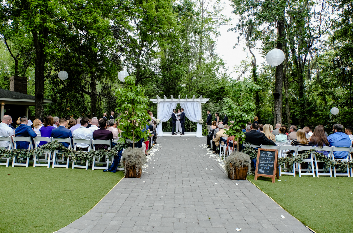 Classic southern style wedding savannah georgia ceremony from behind guests