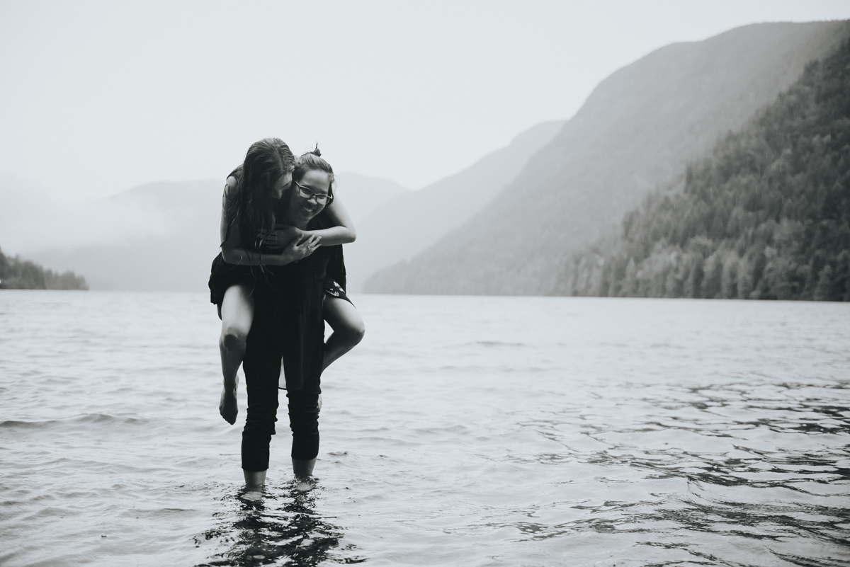 Cameron Lake Photo Session BC Canada piggyback ride in lake shallows