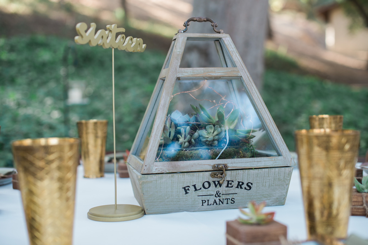 "circle oak ranch farm wedding california terrarium centerpiece on guest table with ""sixteen"" placard"