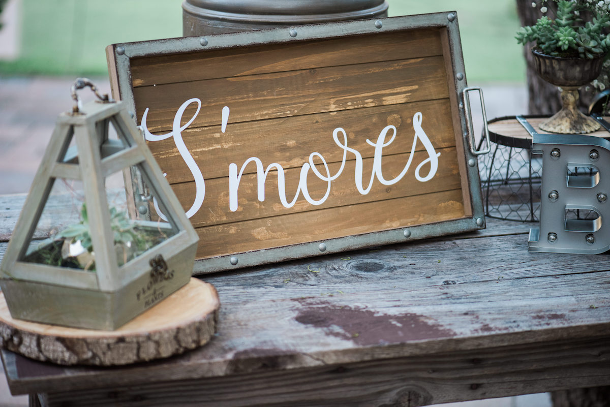 "circle oak ranch farm wedding california metal and wood tray reading ""s'mores"