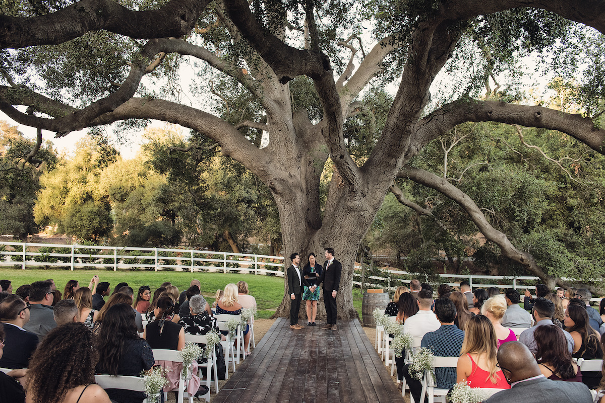 circle oak ranch farm wedding california couple and guests during ceremony