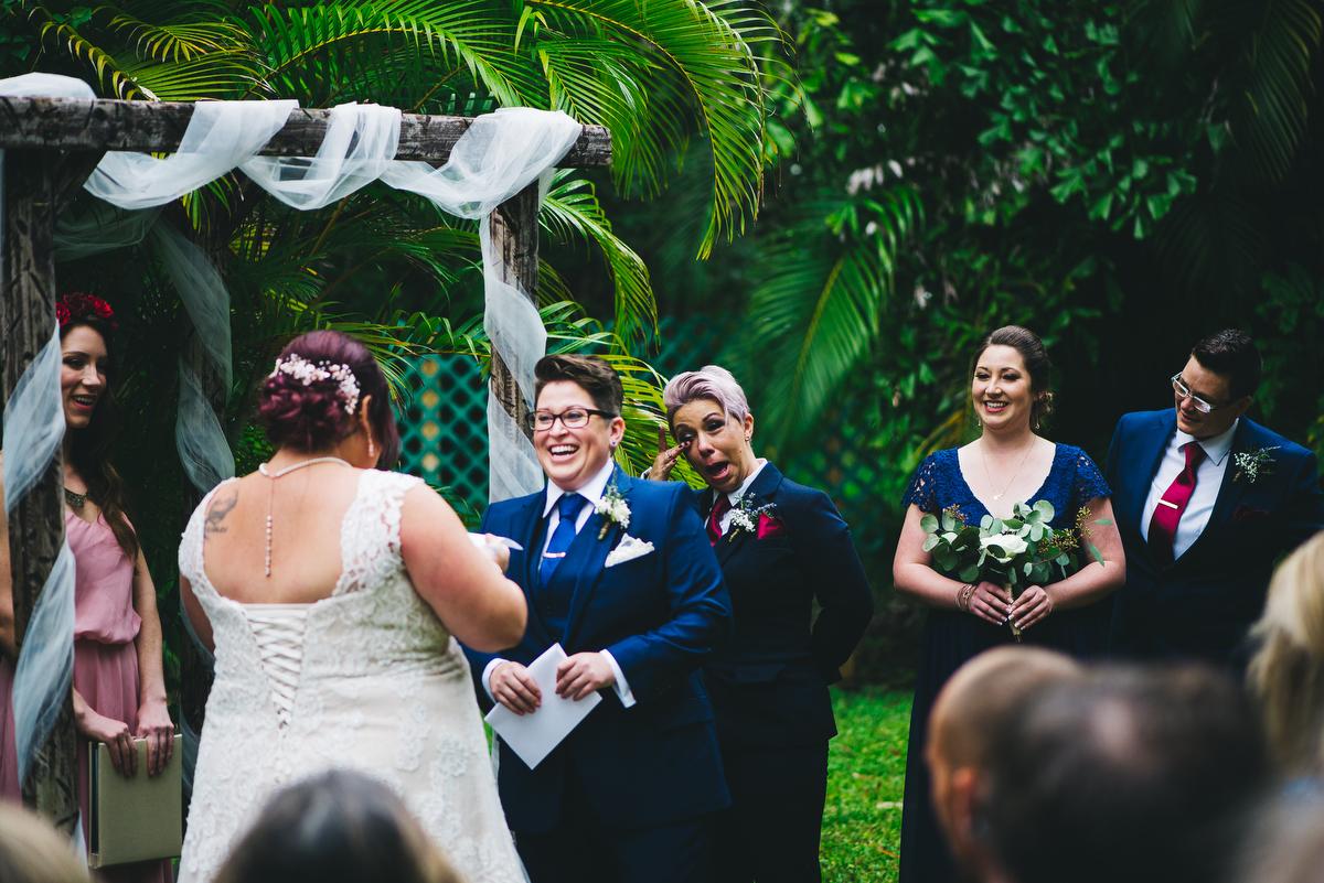 fairytale garden wedding vero beach florida stephanie smiling during ceremony