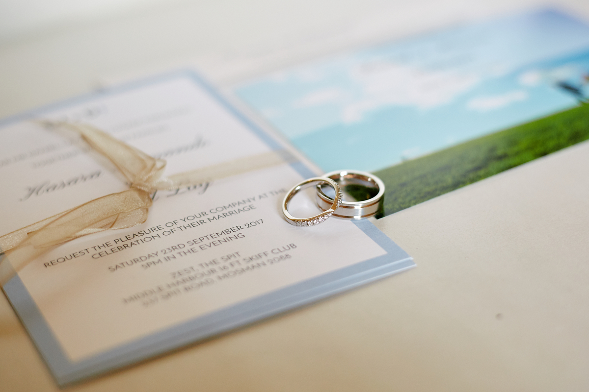 sri lankan, chinese, and harry potter wedding sydney australia rings on invitation and photo
