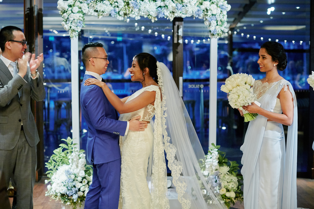 sri lankan, chinese, and harry potter wedding sydney australia couple smiling at altar