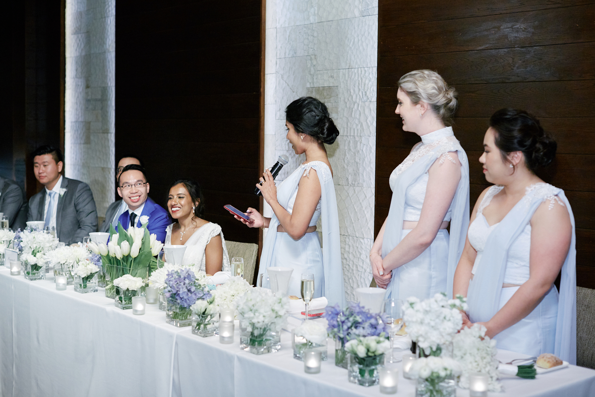 sri lankan, chinese, and harry potter wedding sydney australia bridesmaid making speech at head table