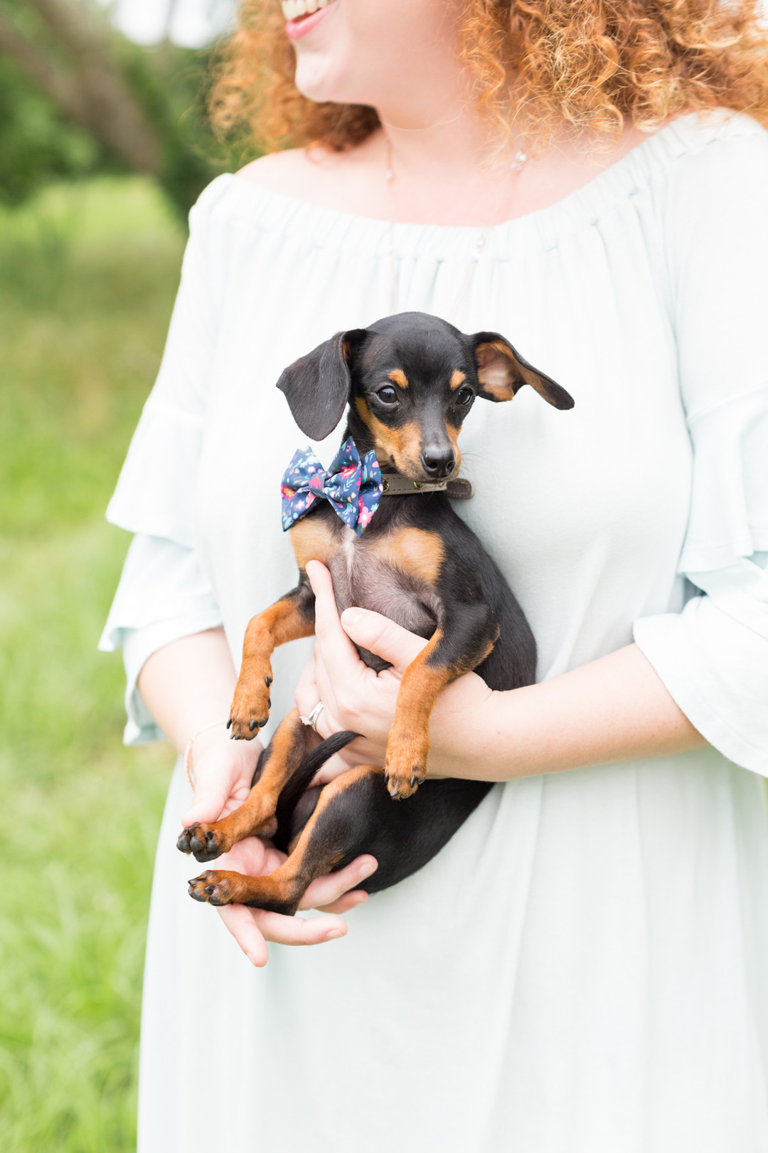 bride holding dog with bowtie columbia south carolina jessica hunt photography