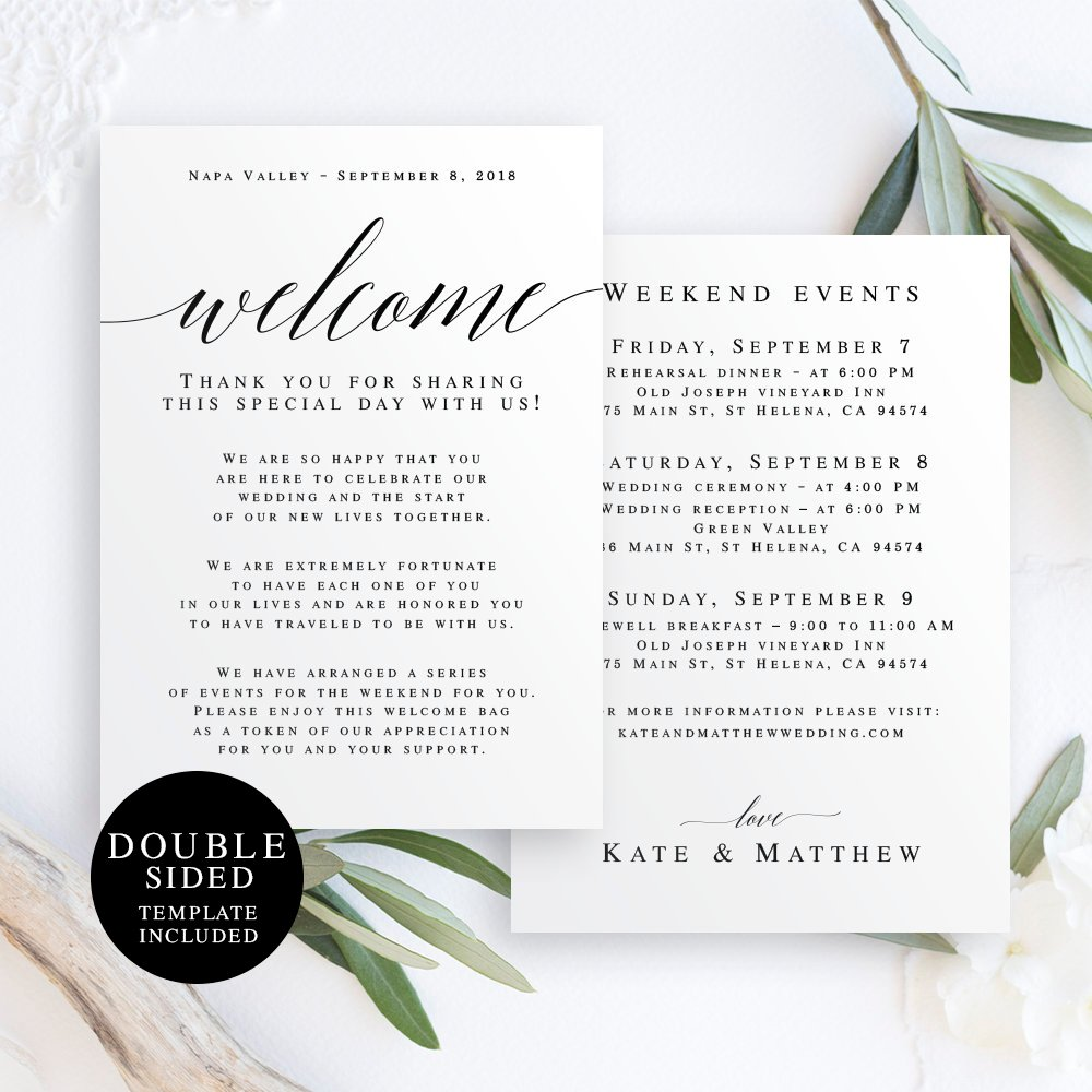 Downloadable Wedding Welcome Note Template by Viola Mirabilis Design