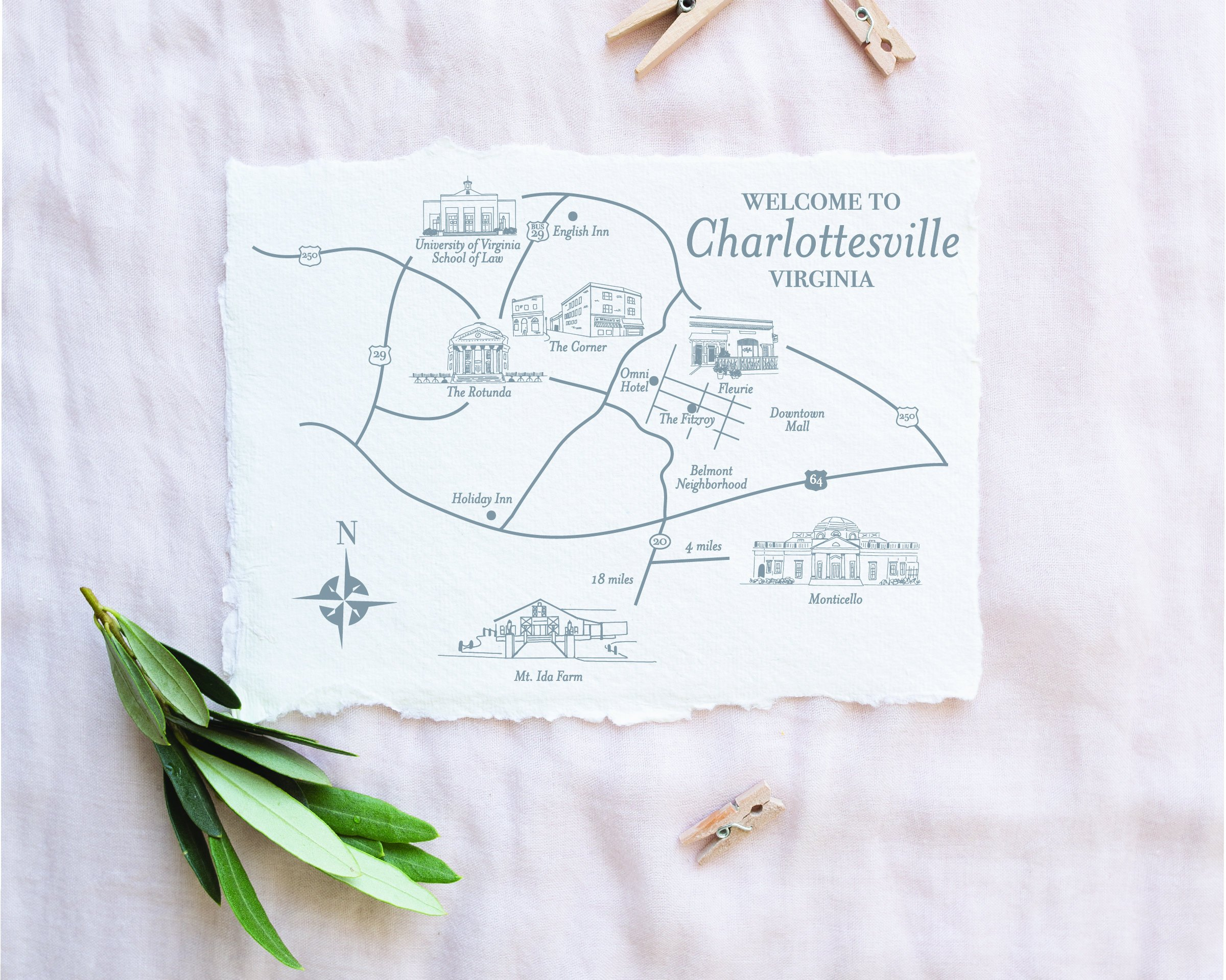 Charlottesville, Virginia Welcome Bag Wedding Guest Map by Southpaw and Co.