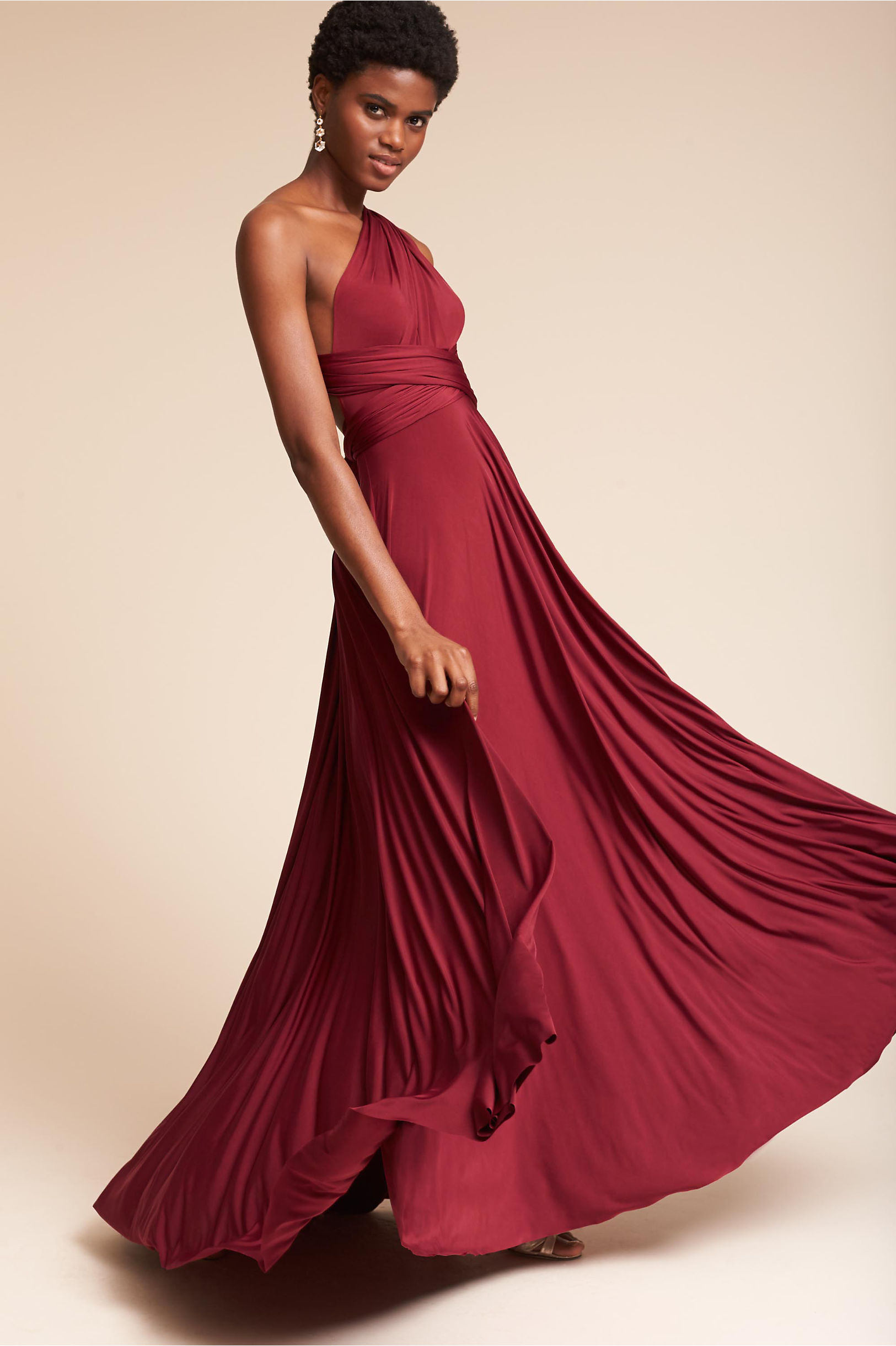 Ginger Convertible Maxi Dress in Burgundy by BHLDN