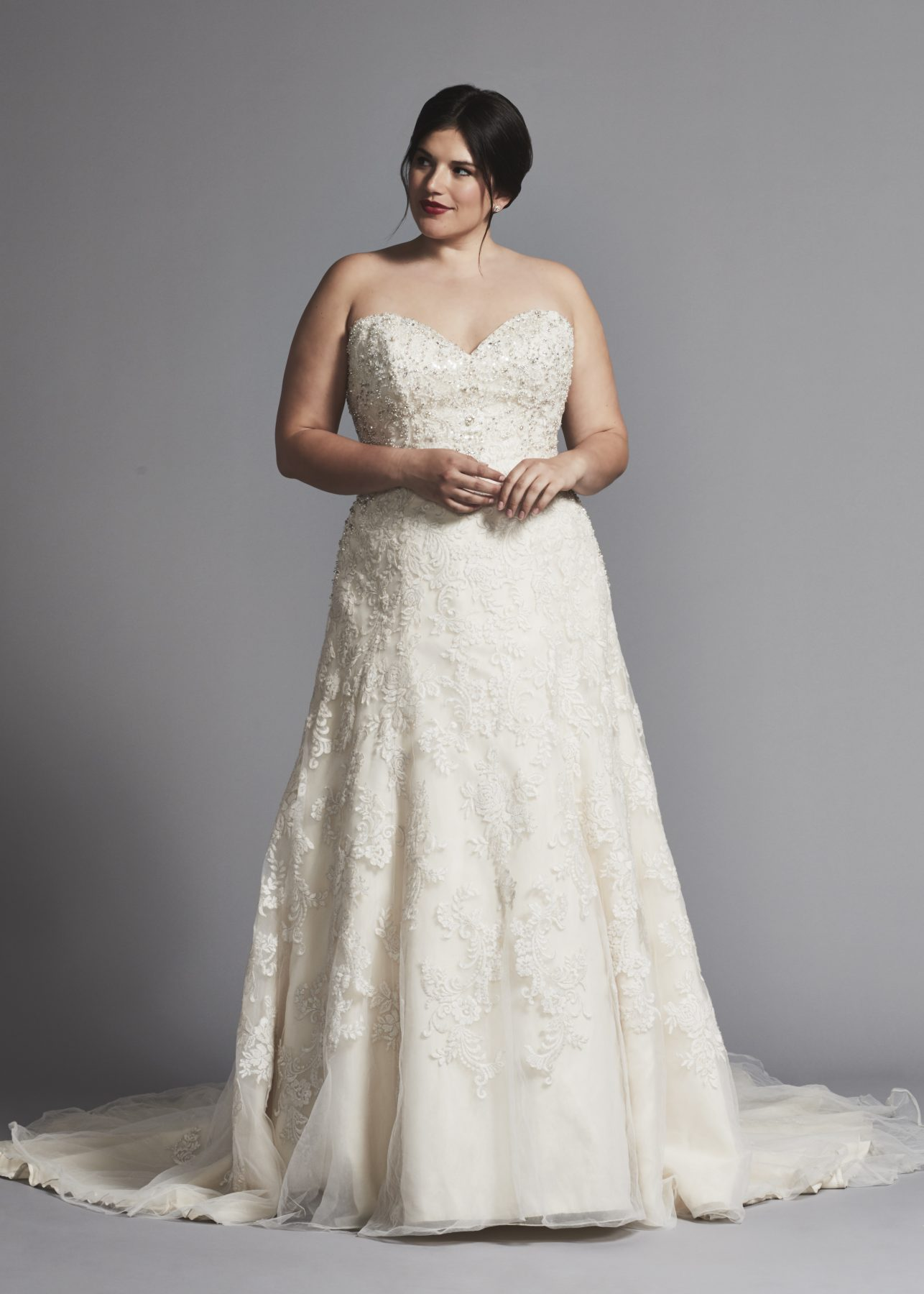 STRAPLESS A-LINE BEADED WEDDING DRESS by DANIELLE CAPRESE