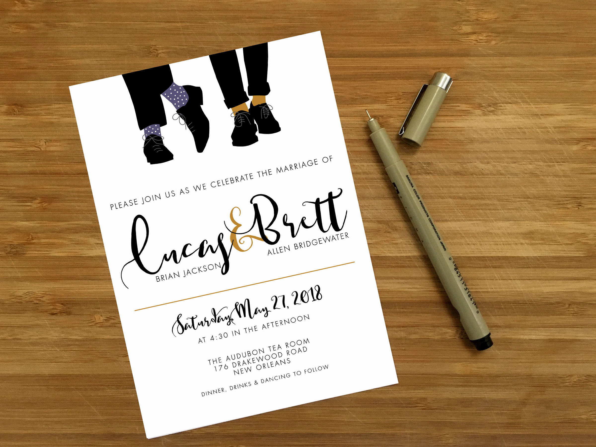 Mr & Mr Wedding Invitation Template by Emily Frock Graphic Design