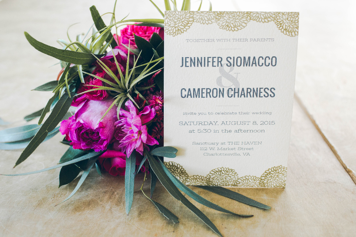 Jen's DIY Wedding Invitations.  Photo by Betty Clicker Photography .
