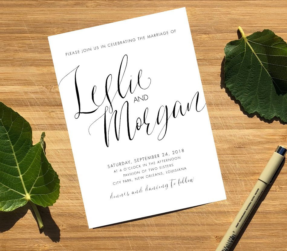 Classic Calligraphy Wedding Invitation Template by Emily Frock Graphic Design