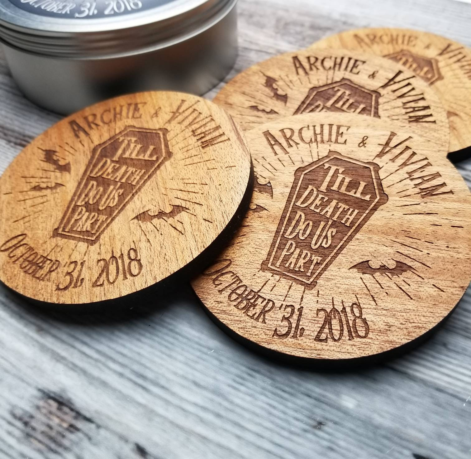 Coffin and bat custom wooden wedding favor coasters
