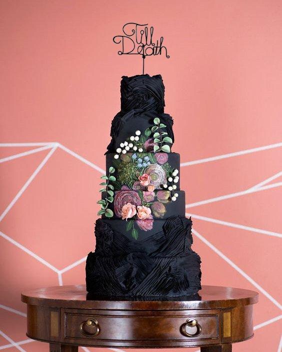 'Till Death black custom wedding cake topper