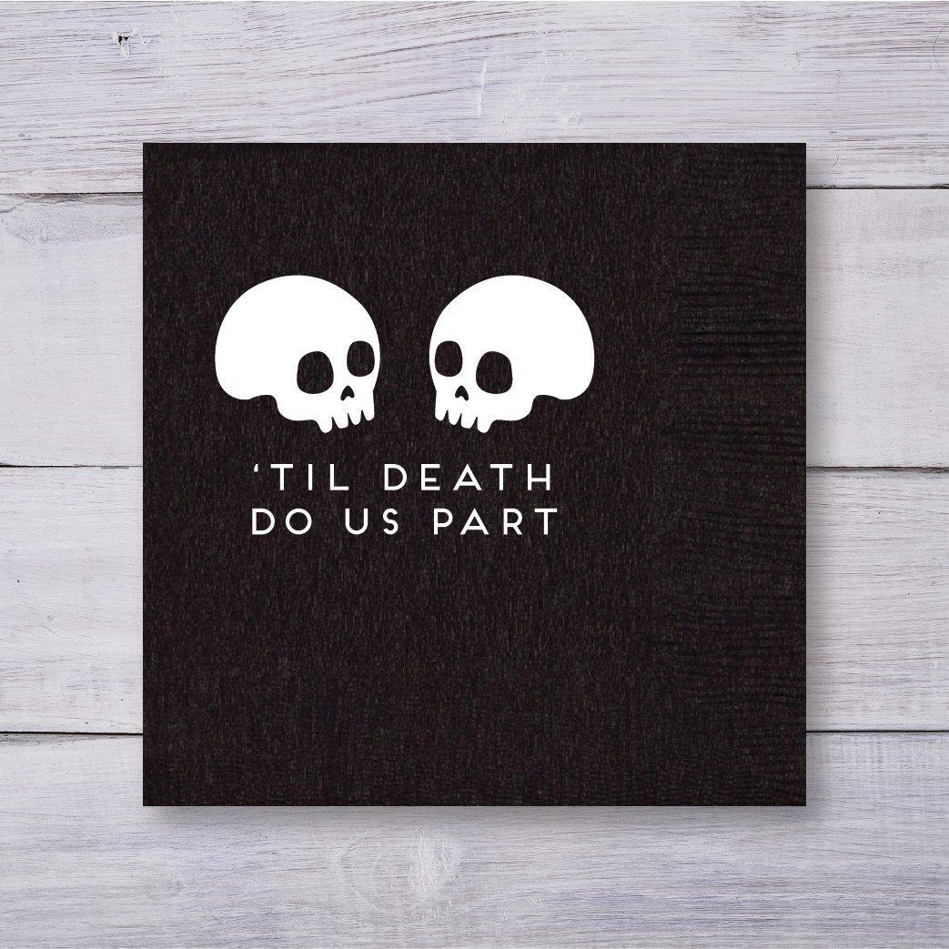 'Til Death Do Us Party black skull wedding dessert napkins