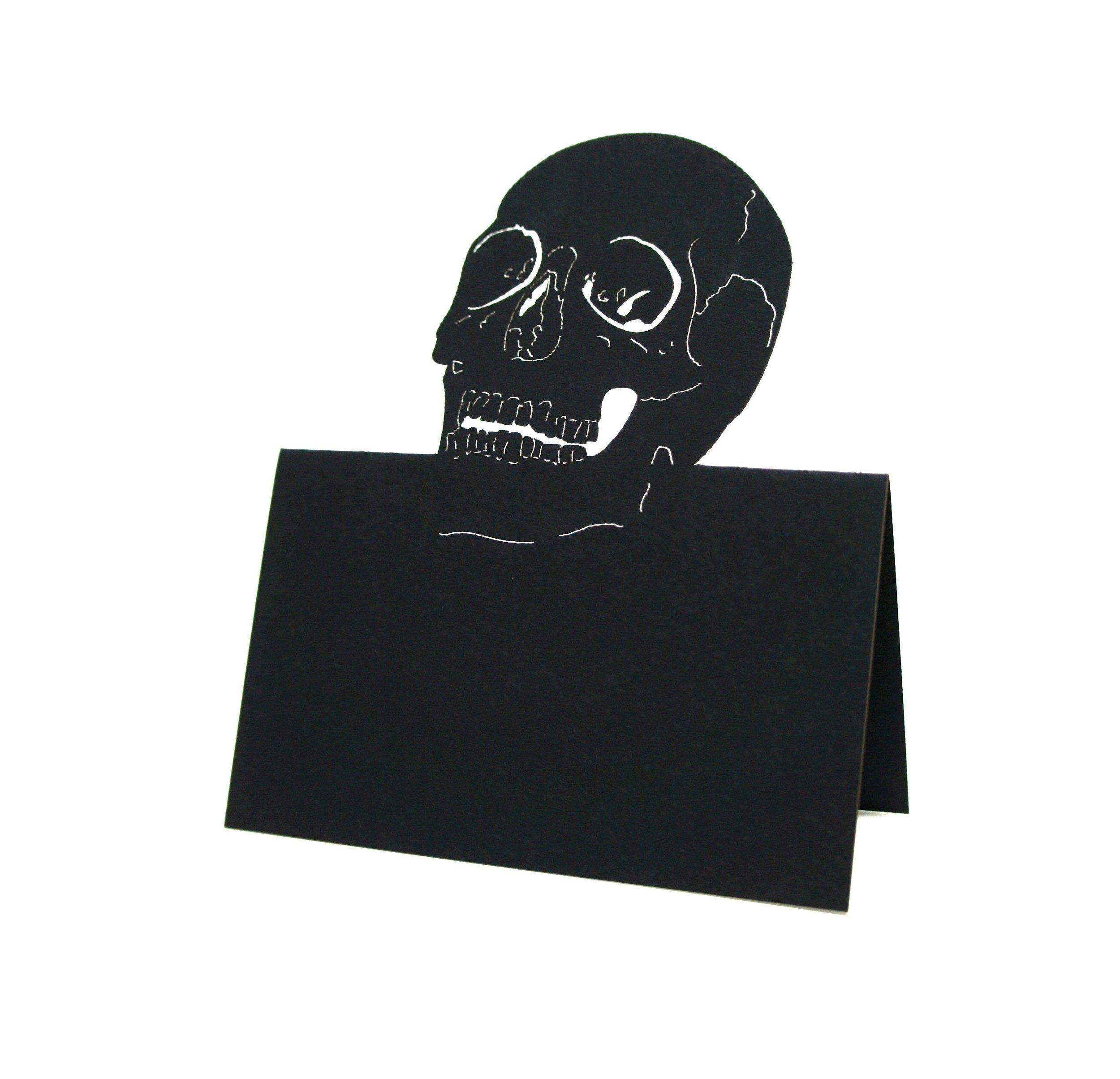 skull halloween wedding place cards