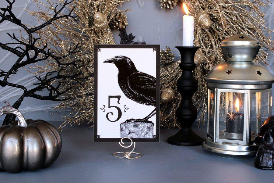 black crow halloween wedding table numbers