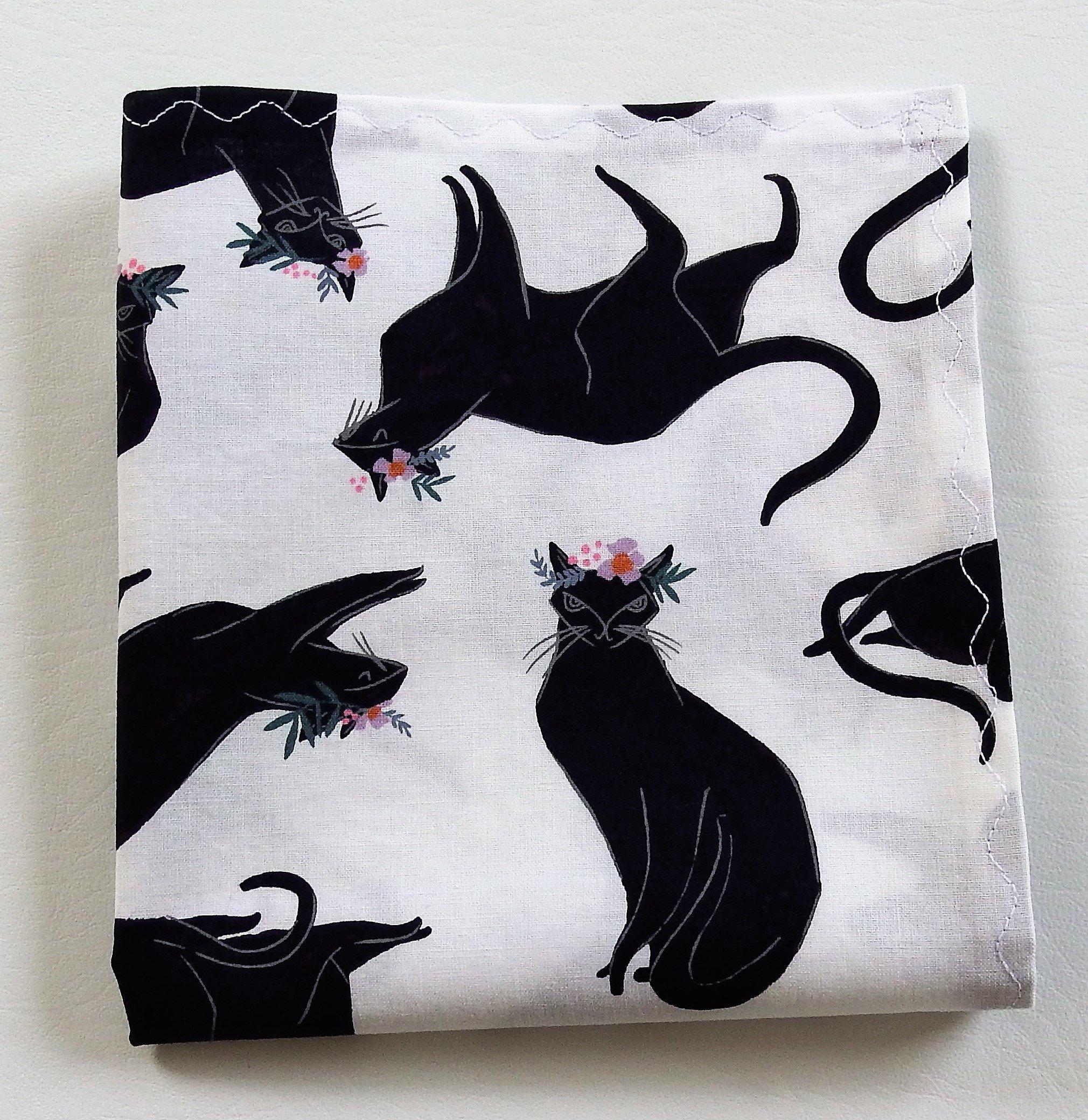Black cat flower crown handkerchief