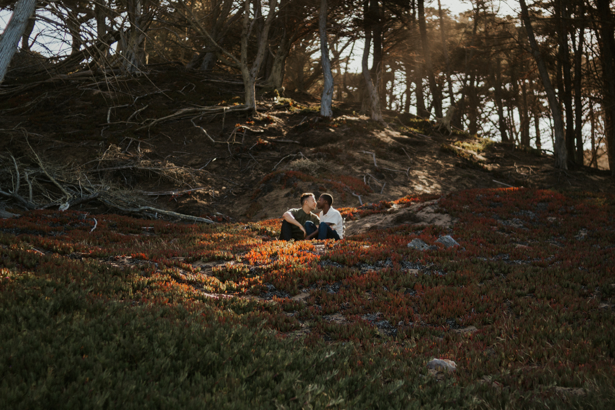 couples session baker beach san francisco california caleb and eugene sitting on hill in a patch of sunlight surrounded by trees