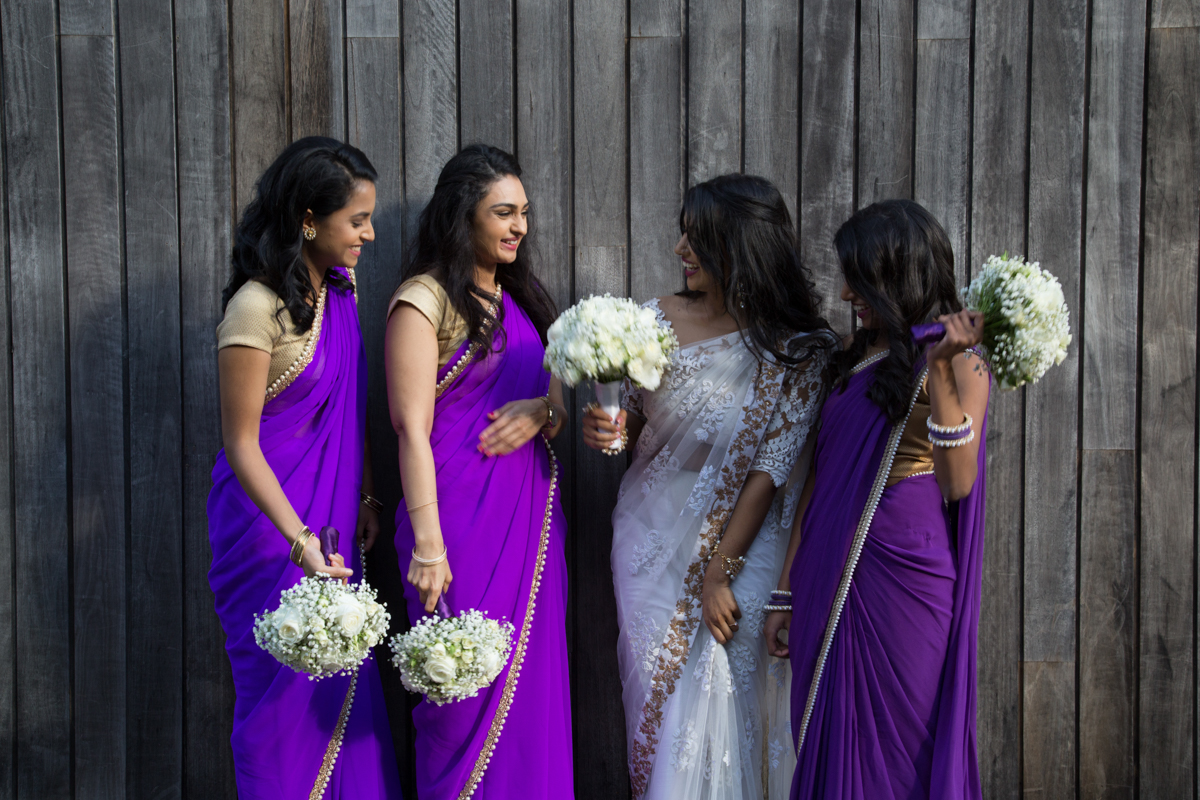 sri lankan wedding in sydney australia candid of abirami with bridesmaids