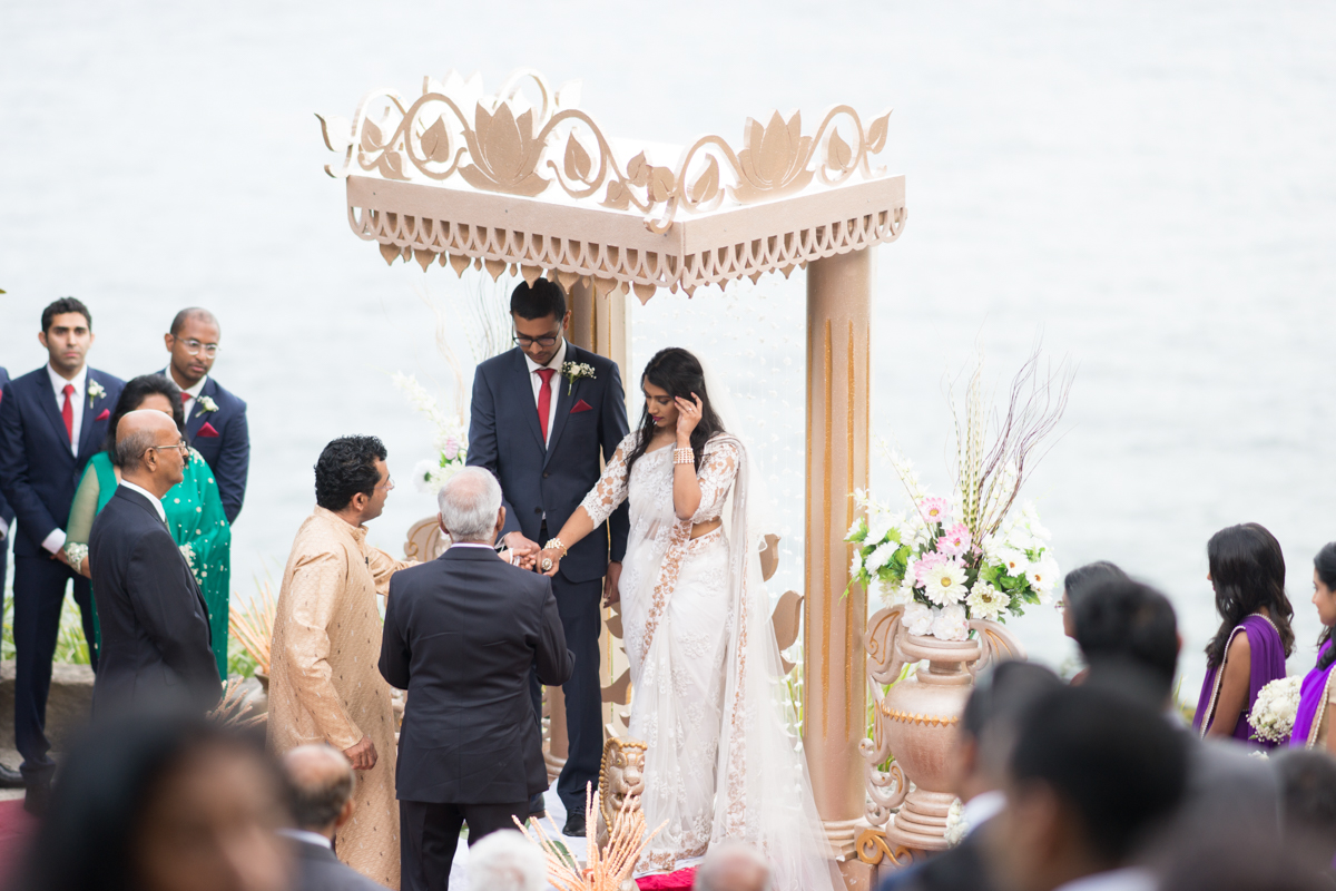 sri lankan wedding in sydney australia couple under altar during ceremony