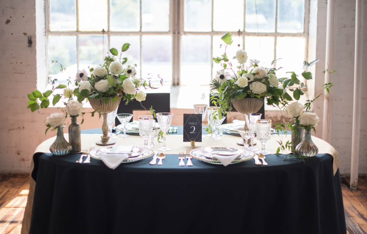 vintage wedding editorial at the art factory paterson new jersey table