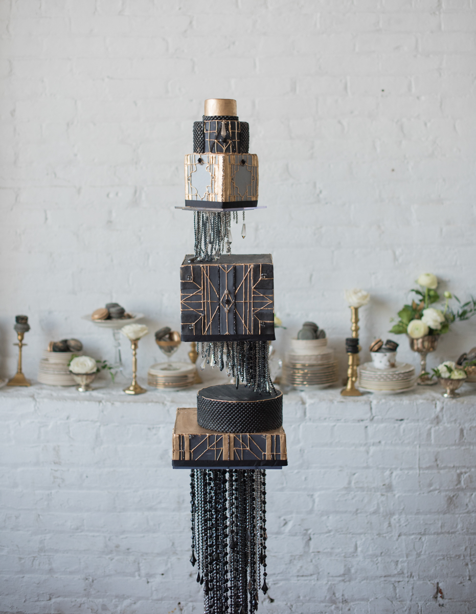 vintage wedding editorial at the art factory paterson new jersey cake layers on three-tier cake stand