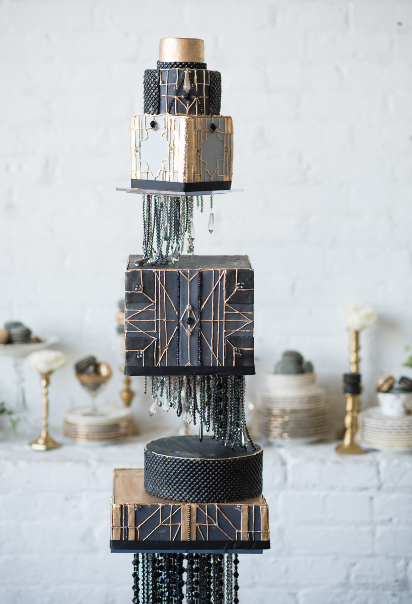 vintage wedding editorial at the art factory paterson new jersey cake on beaded stand