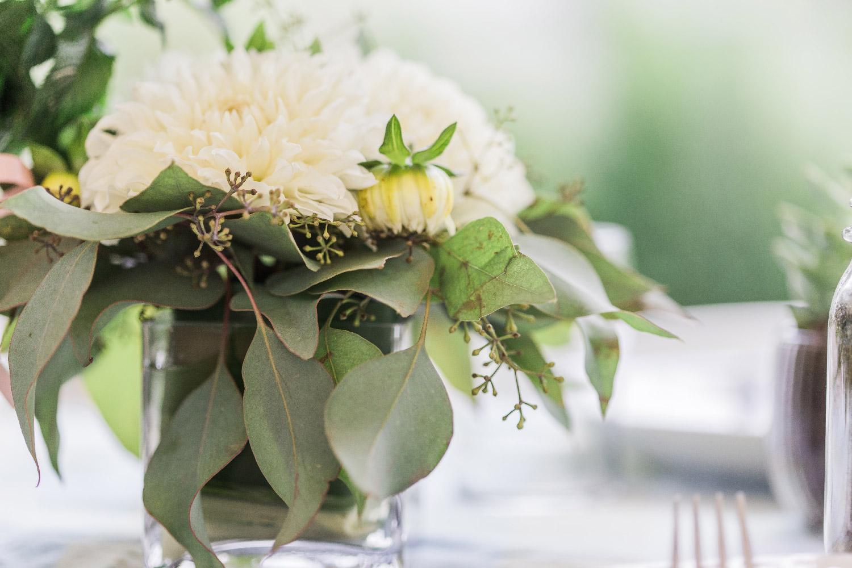 DIY floral wedding centerpiece at backyard wedding in Cleveland Ohio Lea Marie Photography