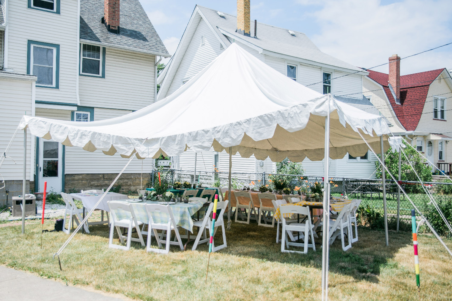 Tent set up in Bethany and Gregs backyard of Cleveland Ohio home for wedding Lea Marie Photography