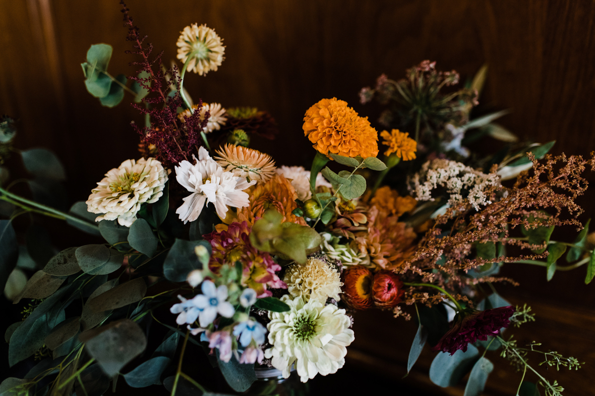 DIY floral centerpiece at Starsha and Andrei's wedding in Brooklyn
