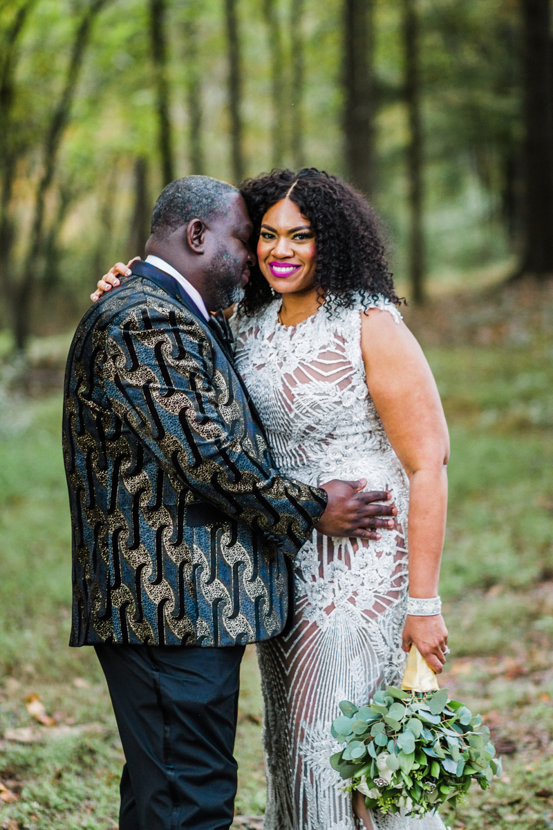 glam wedding river walk south carolina couple in forest clearing