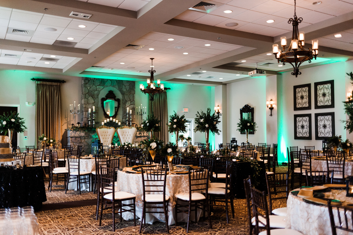 glam wedding river walk south carolina reception with set guest tables