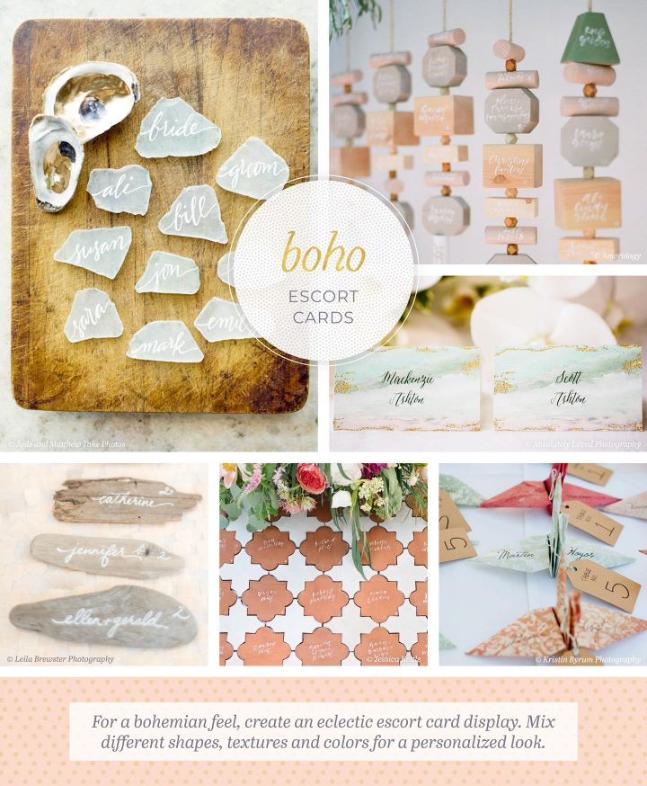 Boho Escort Cards: 6 photos of escort cards made from glass, tile, and driftwood. For a bohemian feel, create an eclectic escort card display. Mix different shapes, textures, and colors for a personalized look.