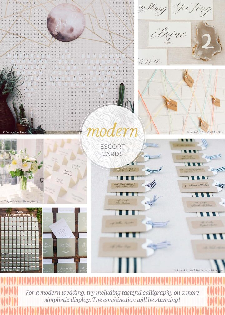 Modern Escort Cards: 6 photos of escort cards that include moon imagery, color blocks, gemstones, and calligraphy. For a modern wedding, try including tasteful calligraphy on a more simplistic display. The combination will be stunning!