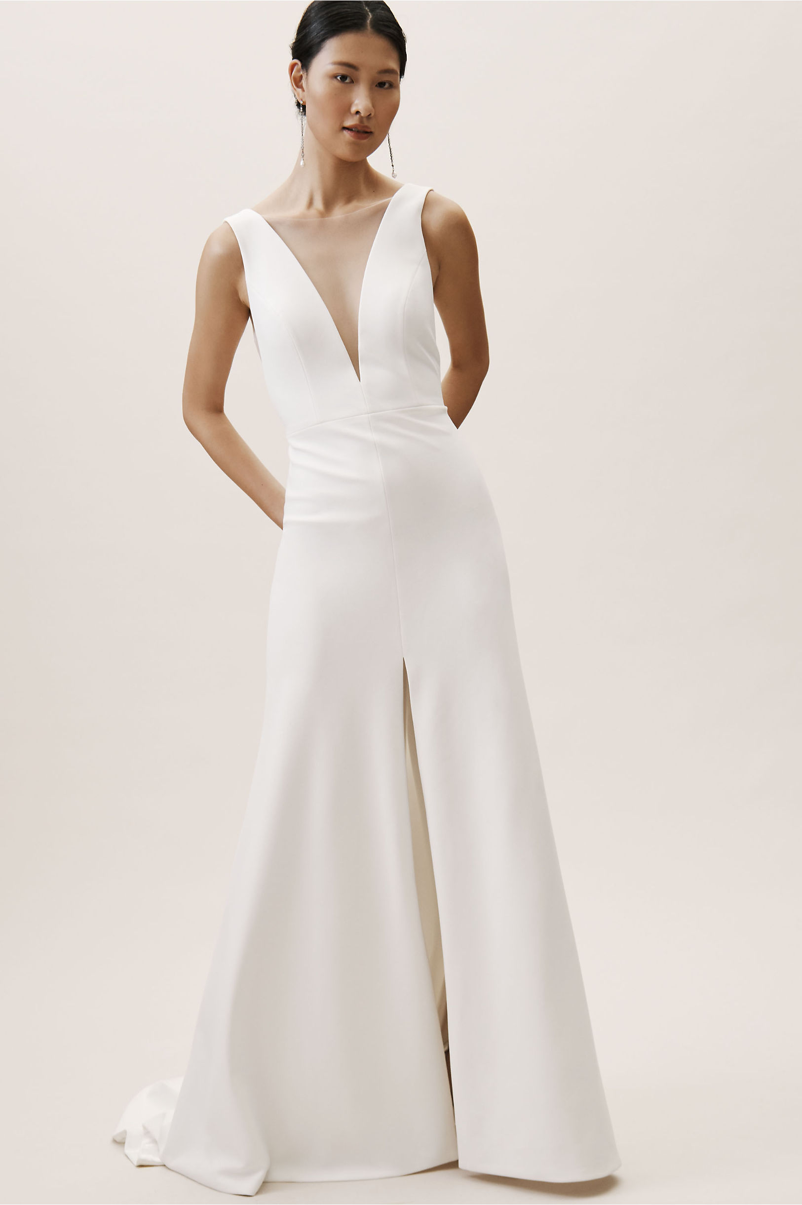 Holloway gown with deep v neck and high skirt slit BHLDN 2019 Spring wedding collection