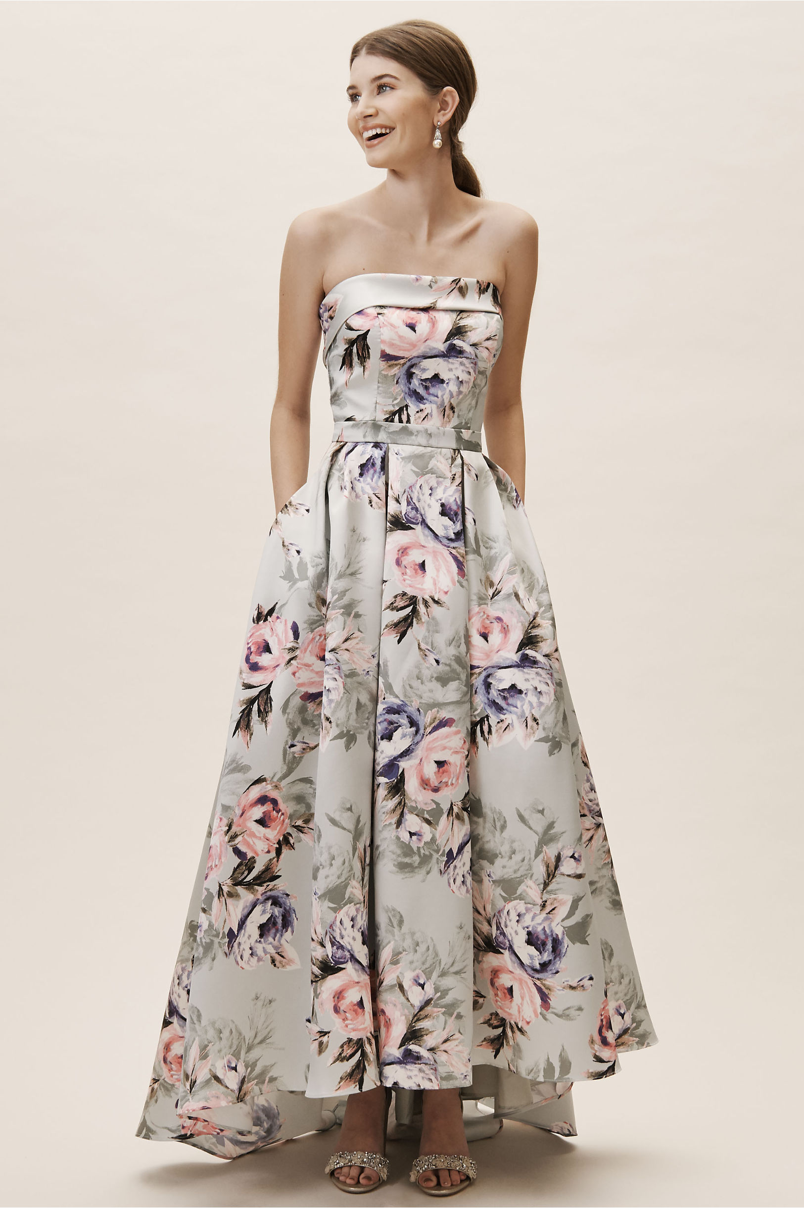 dulcie dress gray peach lavender bold floral gown 2019 spring bhldn wedding collection