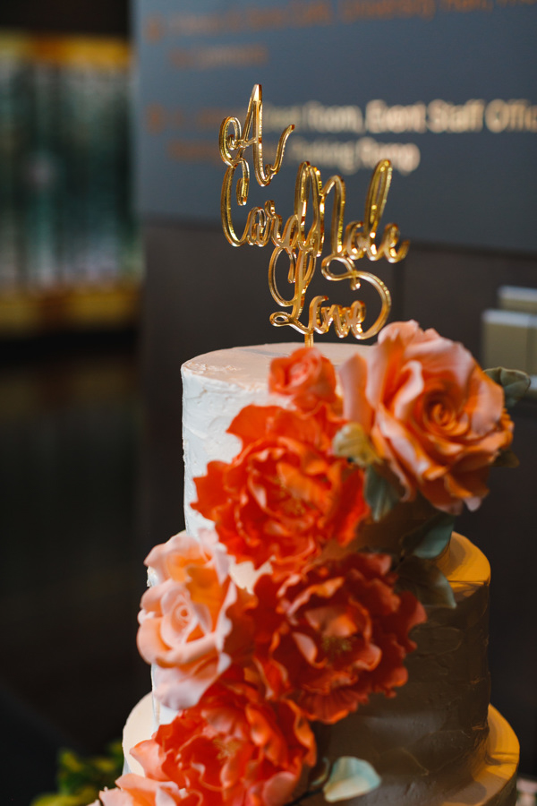 """african american, christian, and muslim traditions minneapolis wedding Cake with custom cake topper """"a cardinole love"""""""