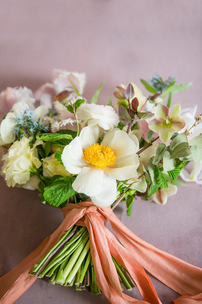 Modern traditional blended styled shoot new york bouquet bound with ribbon