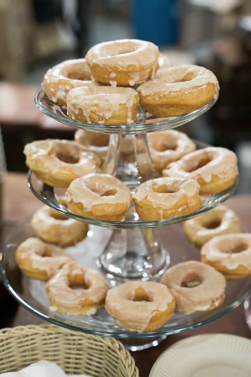 Brewery wedding washington D.C. three-tier stand of donuts