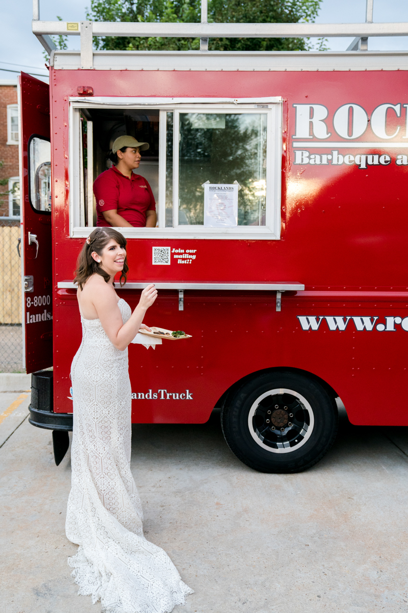 Brewery wedding washington D.C. bride in front of rocklands food truck