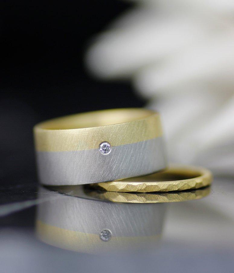 PALLADIUM AND GOLD FUSION WEDDING BAND WITH DIAMOND