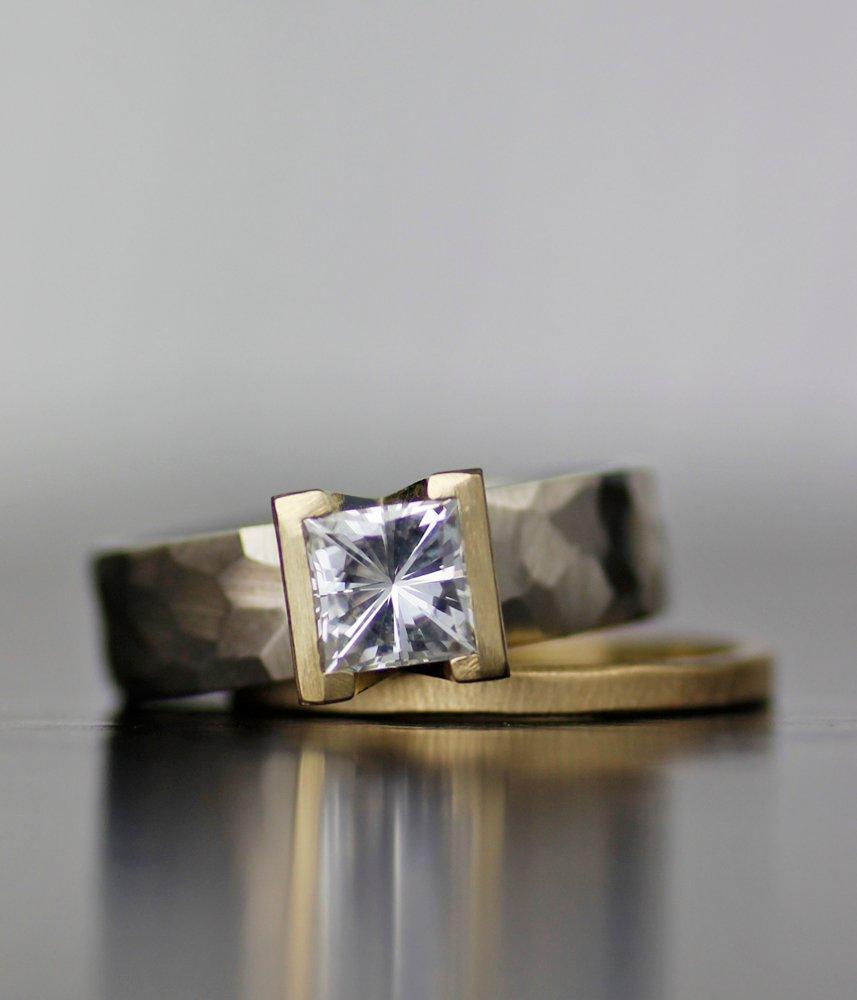 LODESTAR ENGAGEMENT RING / WEDDING BAND SET MOISSANITE WOMEN'S WEDDING RING 14K GOLD, PALLADIUM