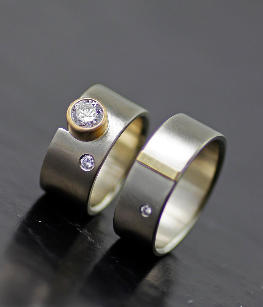 MOON AND STAR MOISSANITE WIDE BAND WEDDING SET