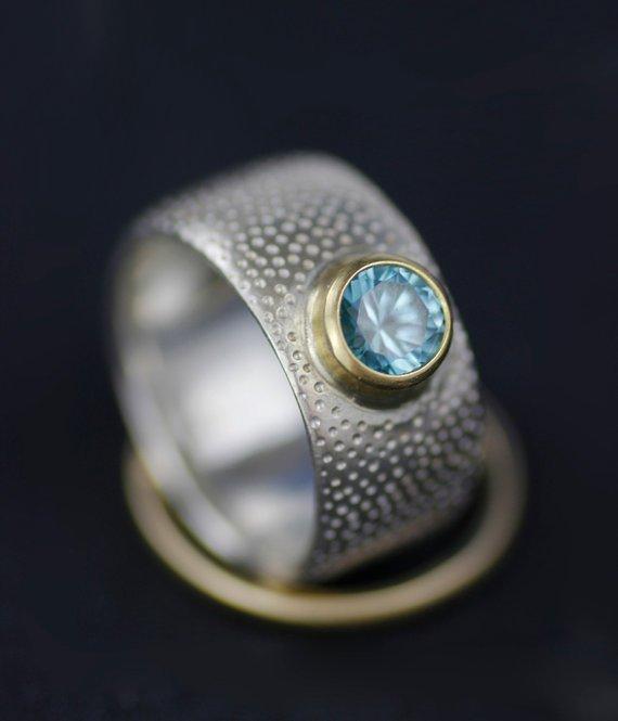 BLUE ZIRCON OR AQUAMARINE ENGAGEMENT RING