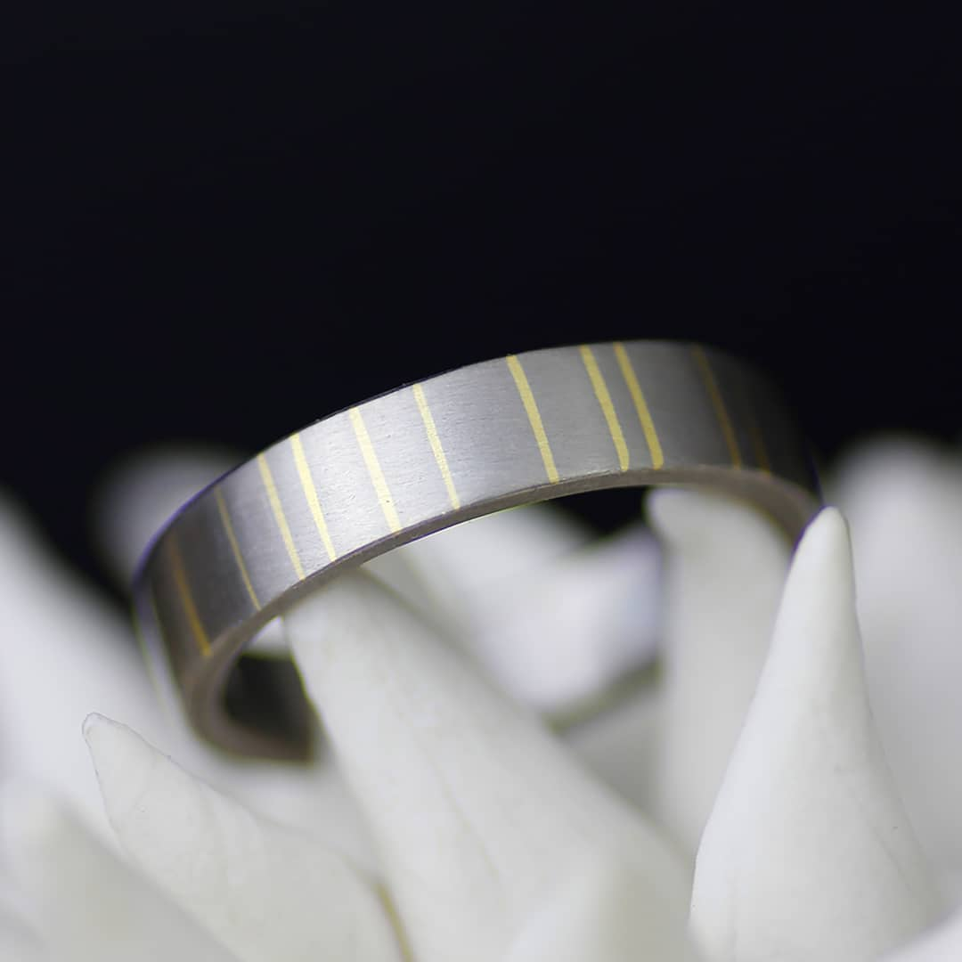 striped mixed metal silver and gold wedding band