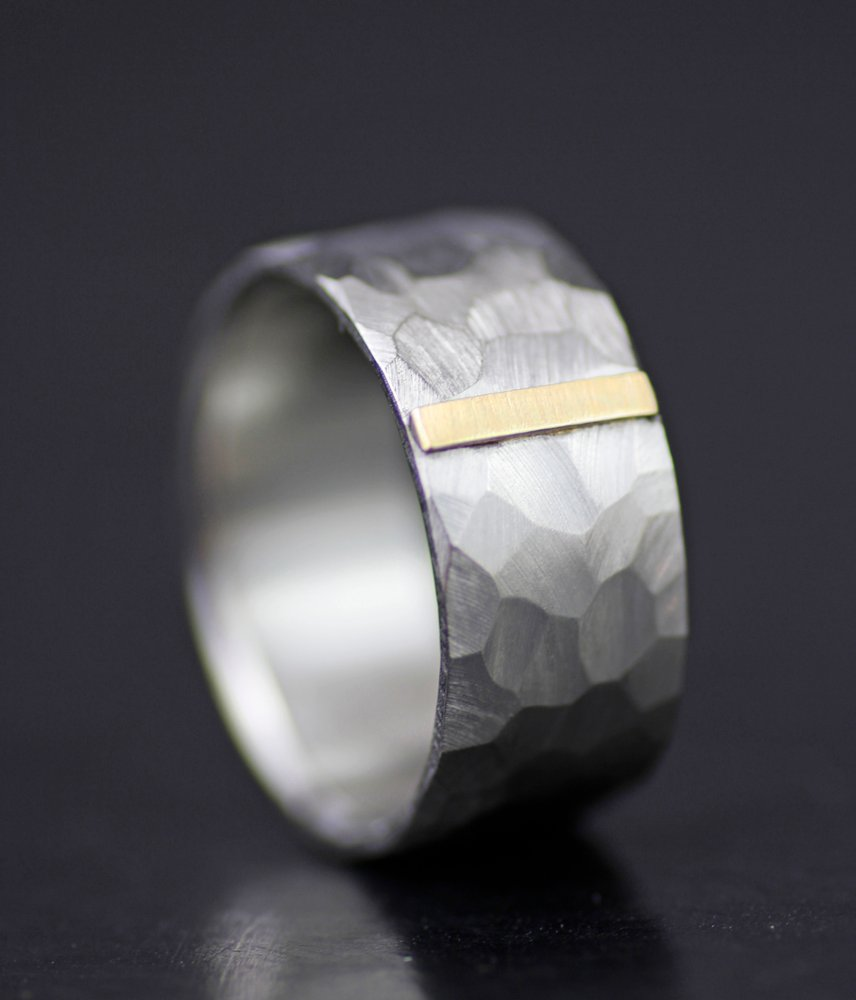 GOLD TAB FACETED WEDDING BAND FOR MEN OR WOMEN